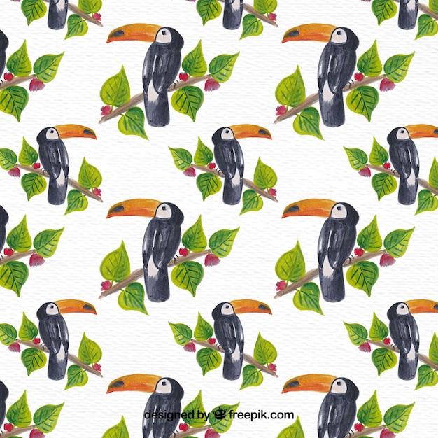トカカクの背景に水彩の葉 無料ベクター