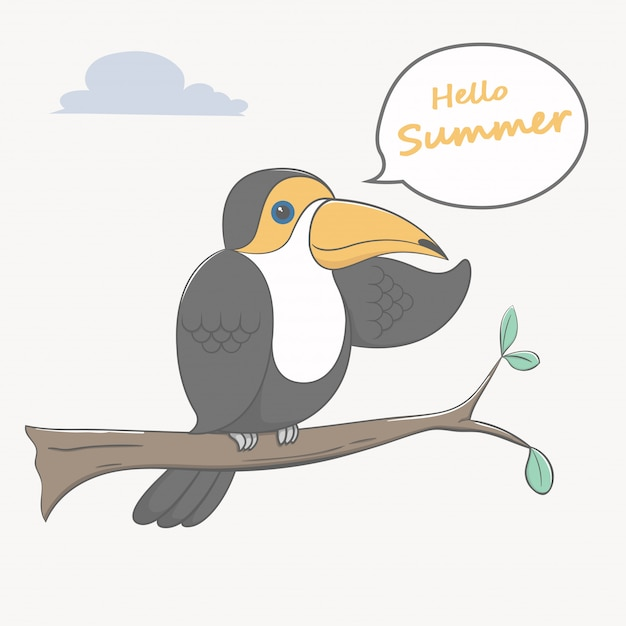 Toucan bird hello summer cartoon Premium Vector