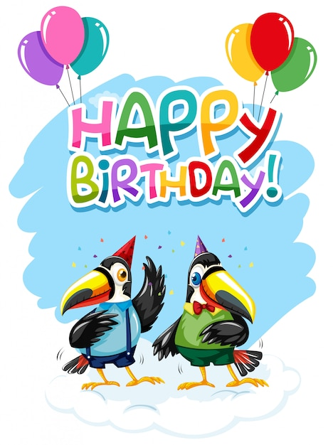 Toucan on birthday template Free Vector