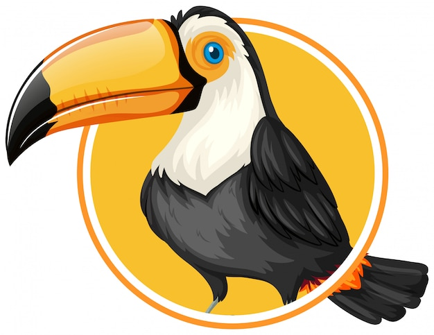 Toucan on circle sticker template Premium Vector
