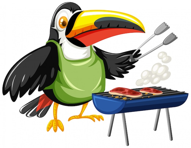 Toucan grilling two pieces of steak Free Vector