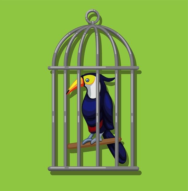 Тукан в птичьей клетке. тукан (семейство ramphastidae) экзотическая птица из американского тропического леса иллюстрации в векторе мультфильма Premium векторы