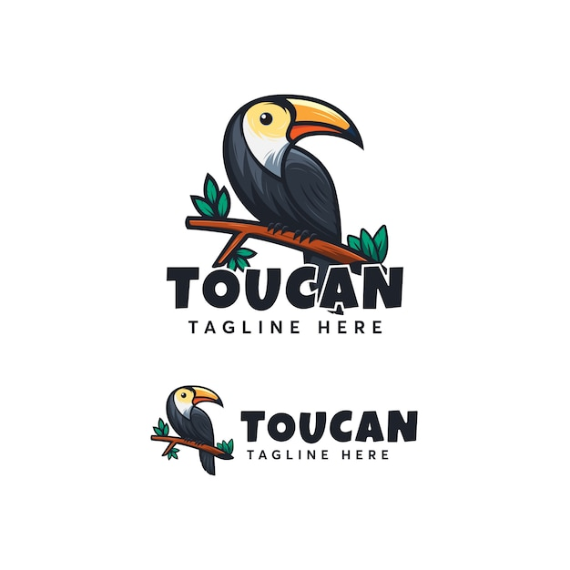 Toucan logo design ilustration template modern Premium Vector