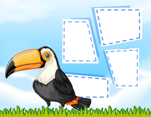 Toucan on note background Free Vector