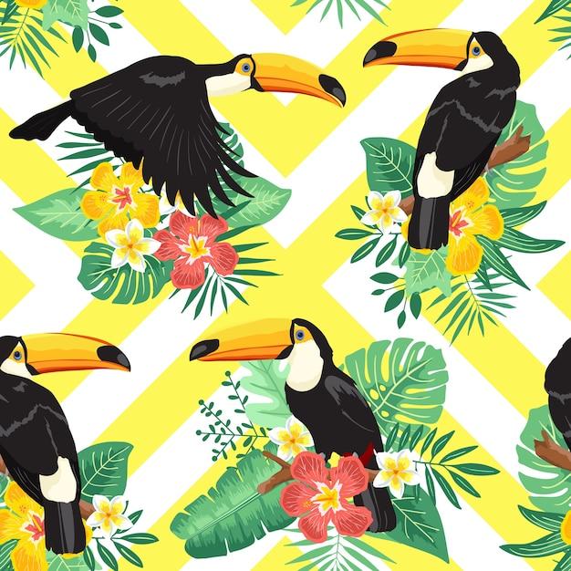 Toucan summer tropical seamless pattern Premium Vector