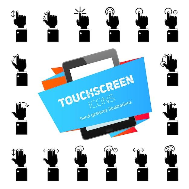 Touch gestures icons black Premium Vector
