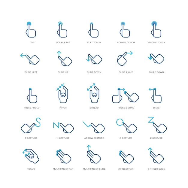 Touch gestures vector icons Premium Vector