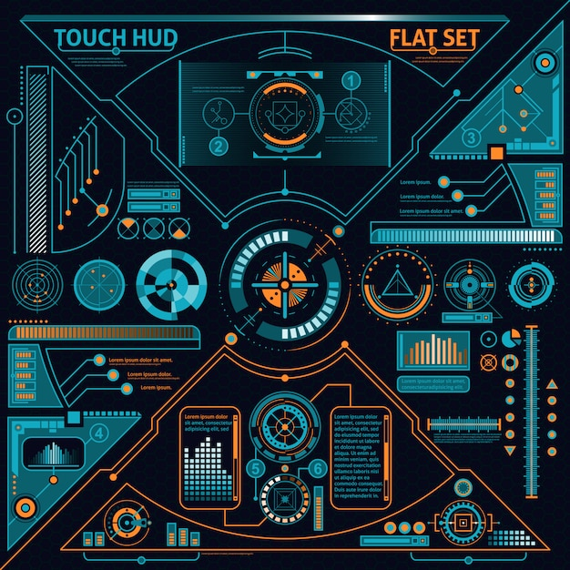 Touch hud set Free Vector