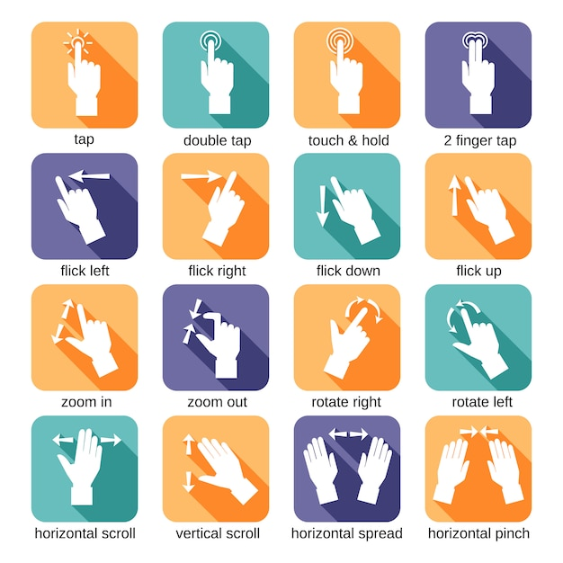 Touch interface gestures icons Premium Vector