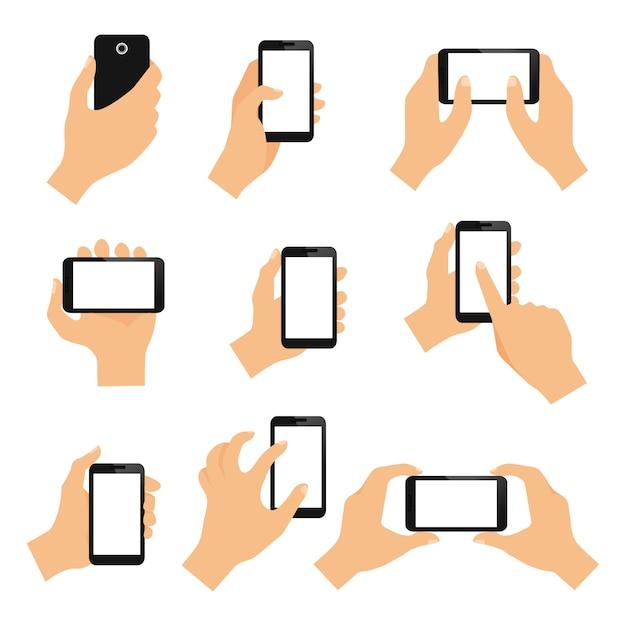 Элементы дизайна жестов рукой сенсорного экрана щипка пальца и нажмите изолированные векторная иллюстрация Бесплатные векторы