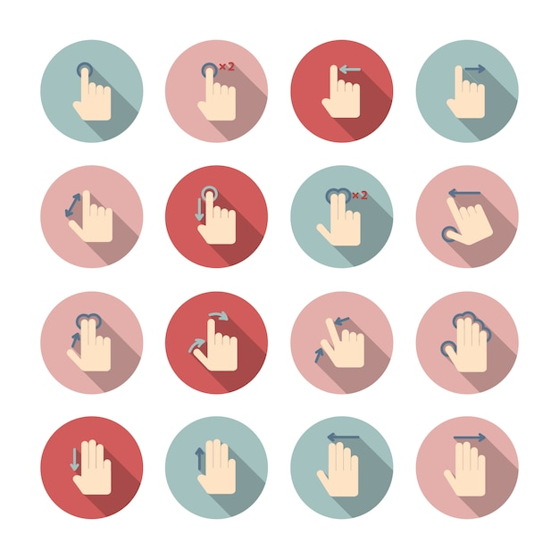 Touch screen hand gestures icons guide pictograms collection for application design isolated vector illustration Premium Vector