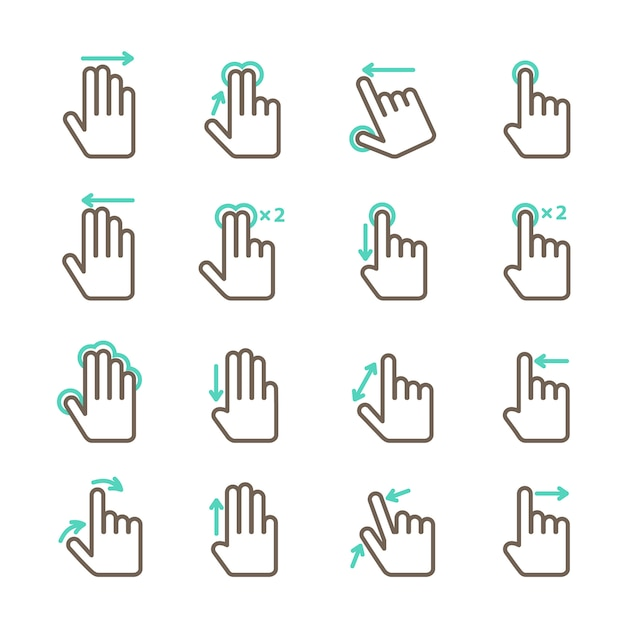 Touch screen hand gestures icons set for mobile application design isolated vector illustration Premium Vector