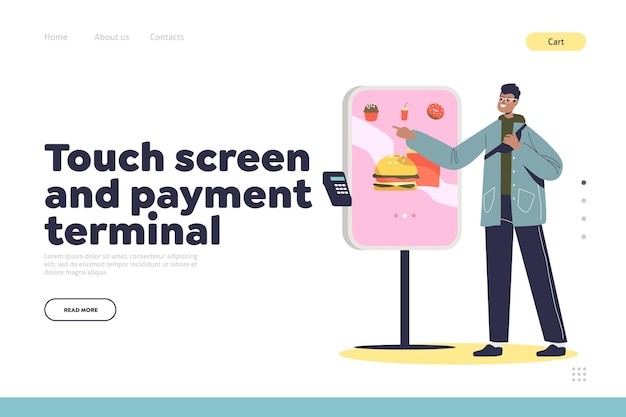 Touch screen terminal for self ordering in cafe landing page