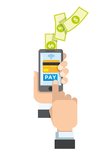 Touch smartphone to payment Premium Vector