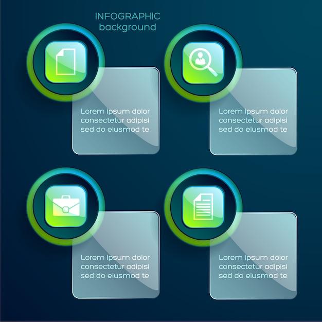 4つのステップでタッチ可能なスティッキーインフォグラフィック 無料ベクター