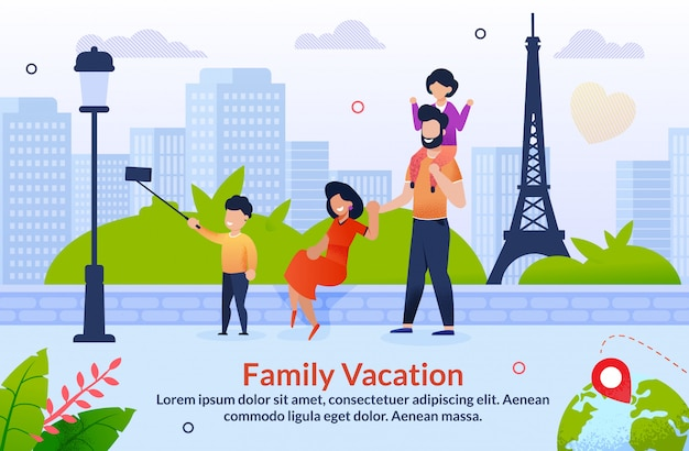 Tour abroad on family vacation motivation Premium Vector