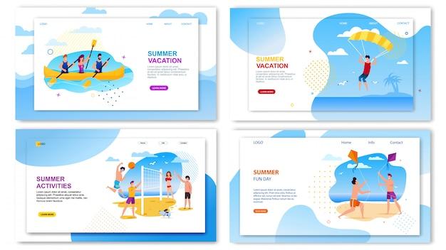 Tour agency landing page set offer fun summer time Premium Vector