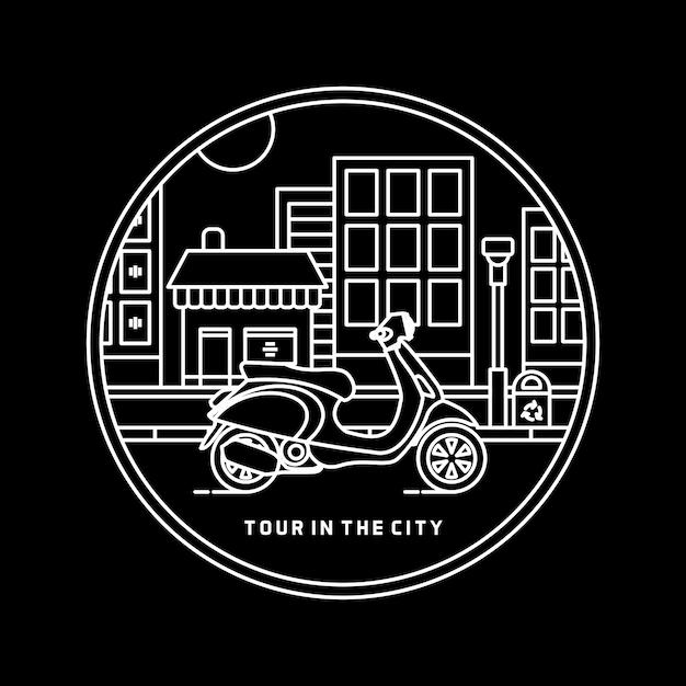 Tour in the city Premium Vector