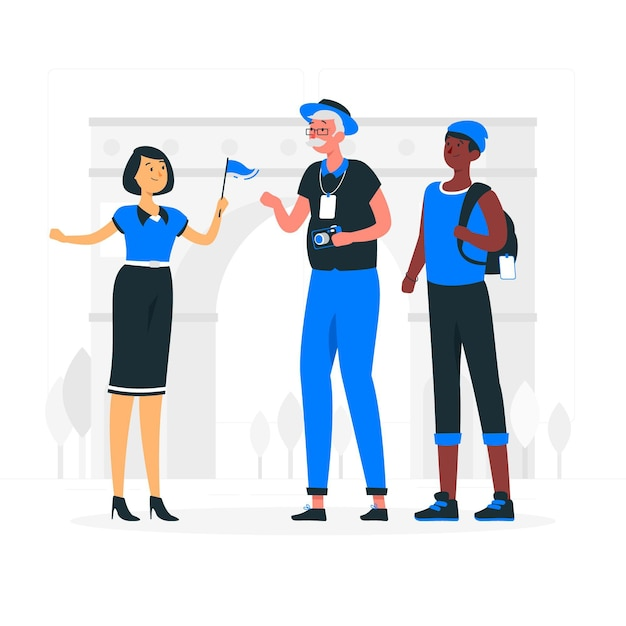 Tour guide concept illustration Free Vector