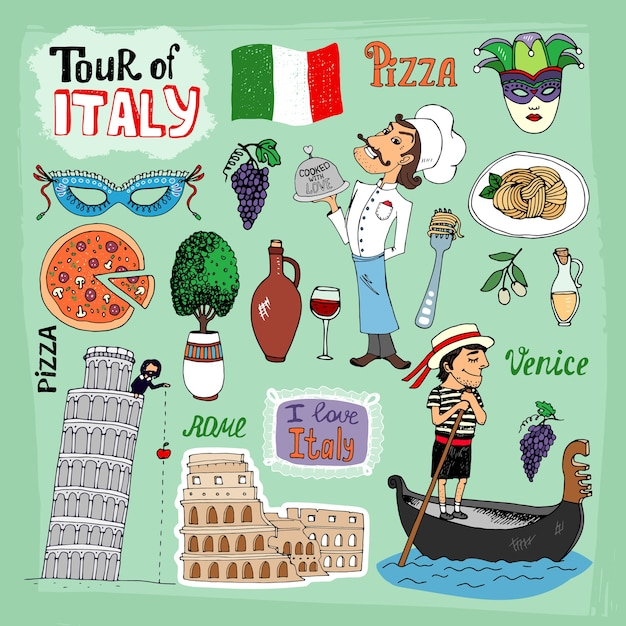 Tour of italy illustration with landmarks Free Vector