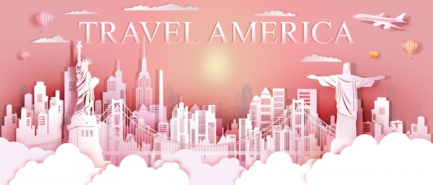 Tour landmarks united states and south america famous monument architecture. Premium Vector