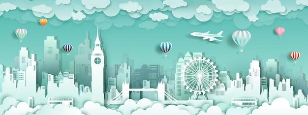 Tour london england famous landmarks europe in paper cut Premium Vector