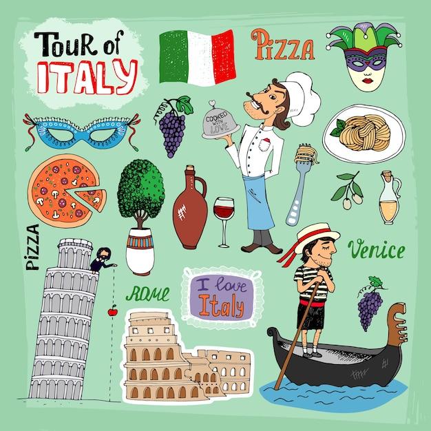 Иллюстрация тур по италии с достопримечательностями Бесплатные векторы