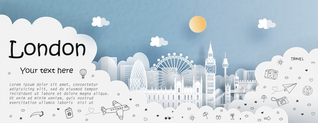Tour and travel advertising template with travel to england Premium Vector