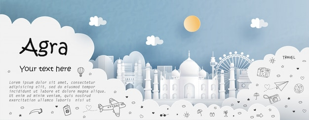 Tour and travel advertising  with travel to agra Premium Vector