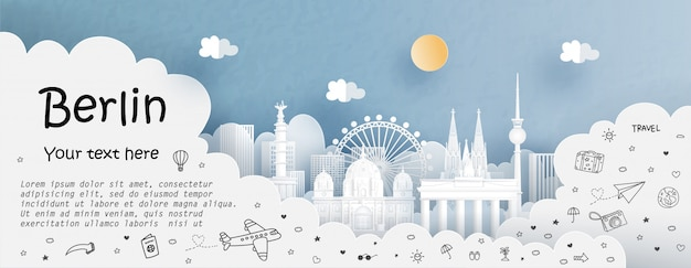 Tour and travel advertising with travel to berlin Premium Vector
