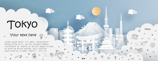 Tour and travel with travel to tokyo Premium Vector