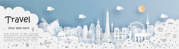 Tour and travel with travel the world with france Premium Vector
