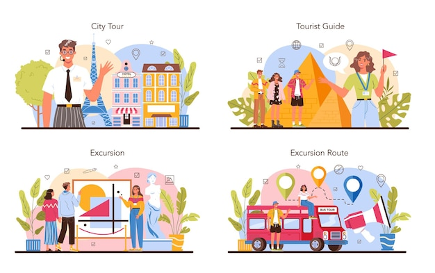Tour vacation guide concept set tourists listening to the history
