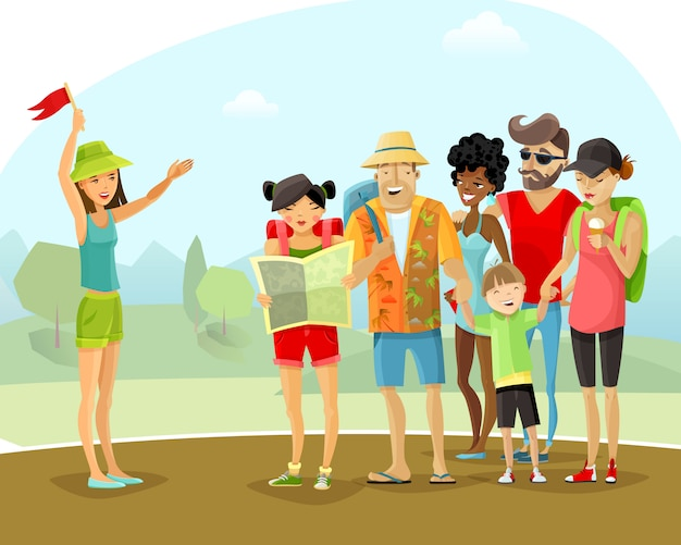 Tour vacation guide illustration Free Vector