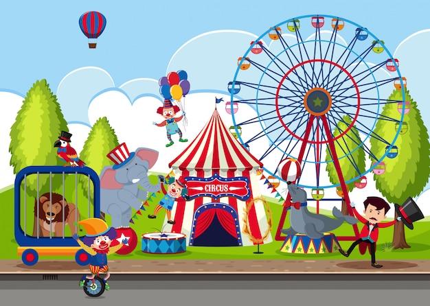 Туристический цирк в парке Premium векторы