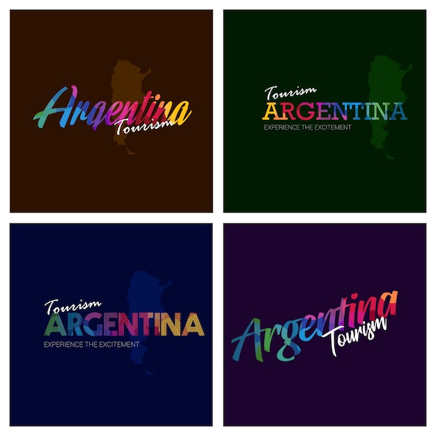 Tourism argentina typography logo background set Premium Vector