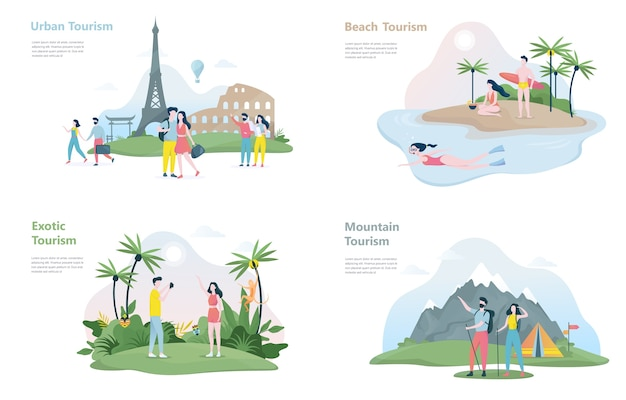 Tourism banner set. various types of journey Premium Vector