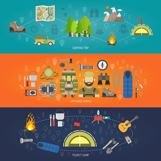 Tourism banner set Free Vector
