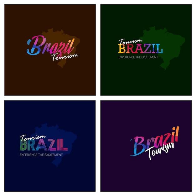 Tourism brazil typography logo background set Premium Vector