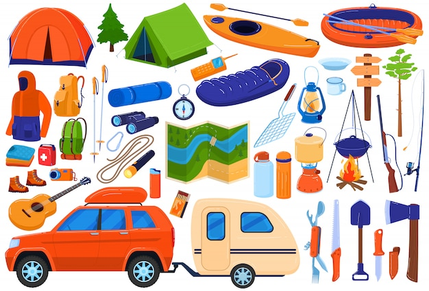 Tourism camp equipment  illustration set, cartoon  travel expedition collection for family tourists hiking, camping in forest Premium Vector