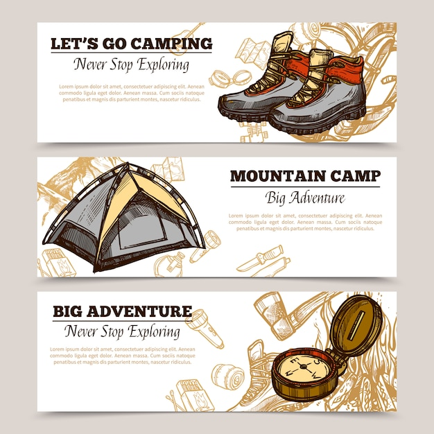 Tourism camping hiking banners Free Vector