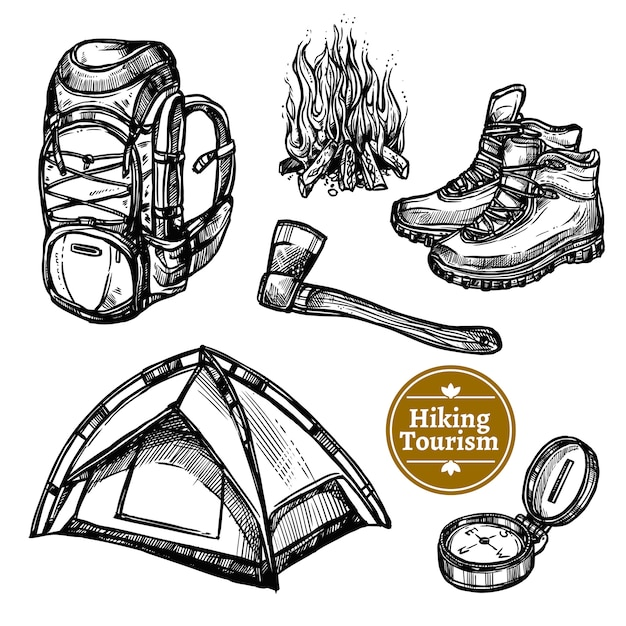 Tourism camping hiking sketch set Free Vector