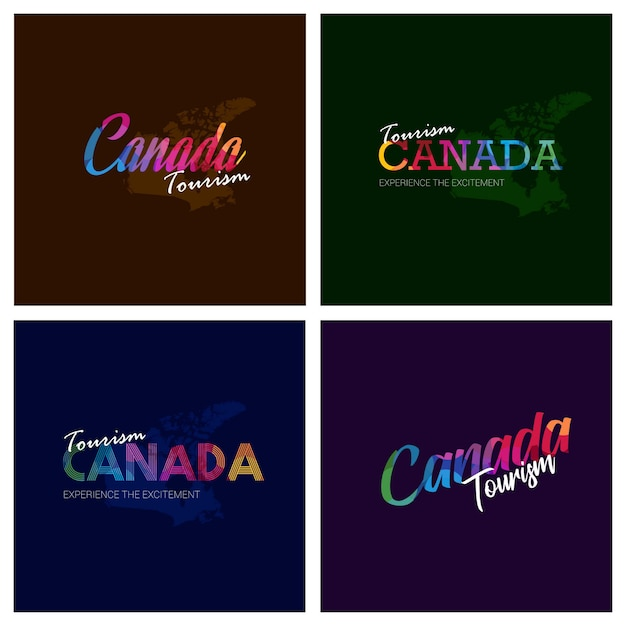 Tourism canada typography logo background set Free Vector