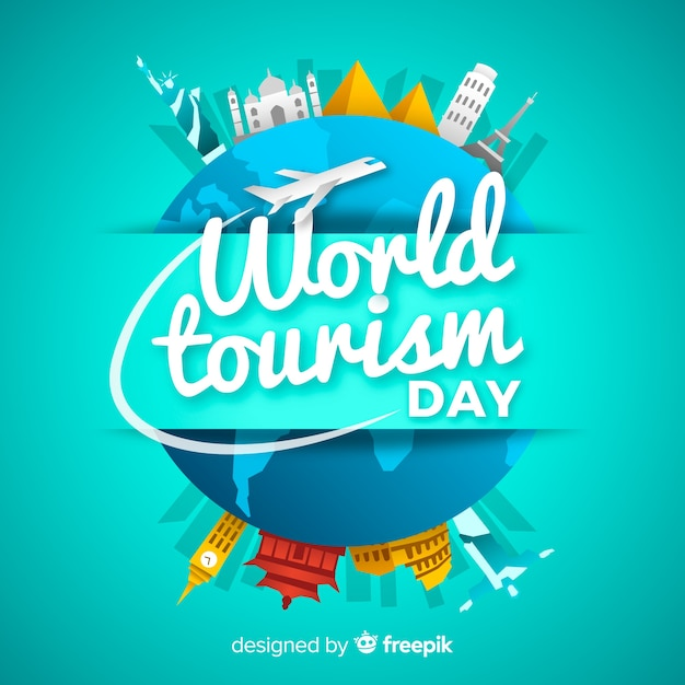 Tourism day background with monuments around earth Free Vector