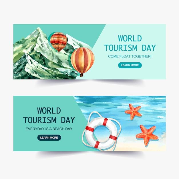 День туризма дизайн баннера с природой, горы, красочный воздушный шар, океан Бесплатные векторы