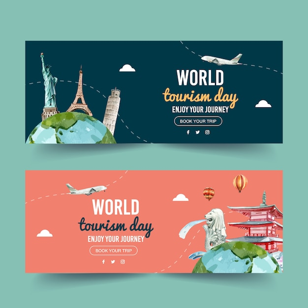 Tourism day banner design with statue of liberty, eiffel tower Free Vector