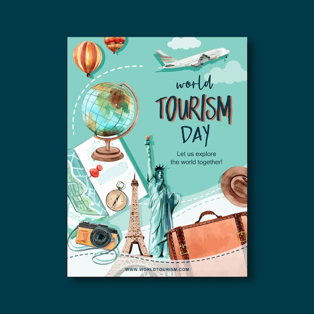 Tourism day flyer design with globe, camera, bag, hat, map Free Vector