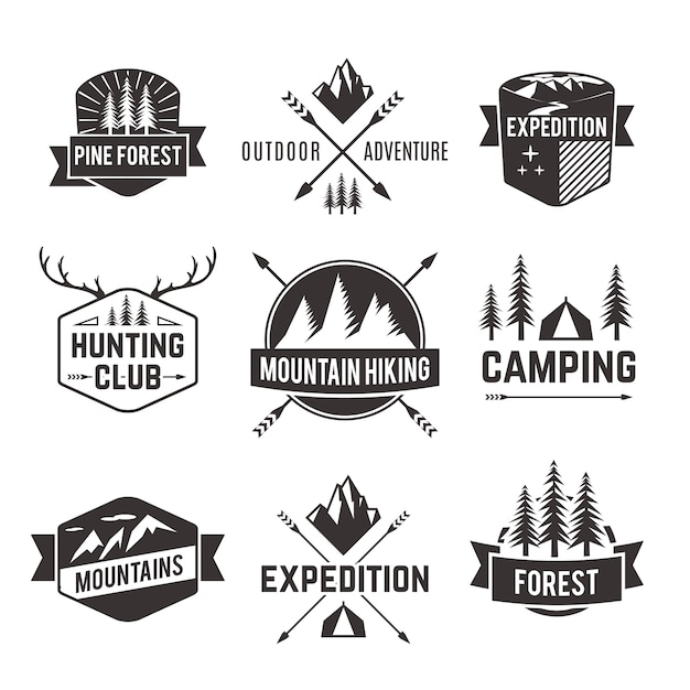 Tourism emblems labels set Free Vector