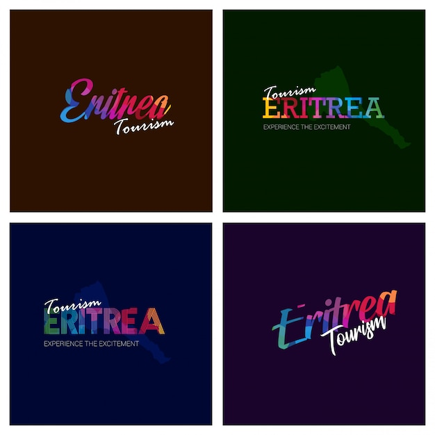 Tourism eritrea typography logo background set Free Vector