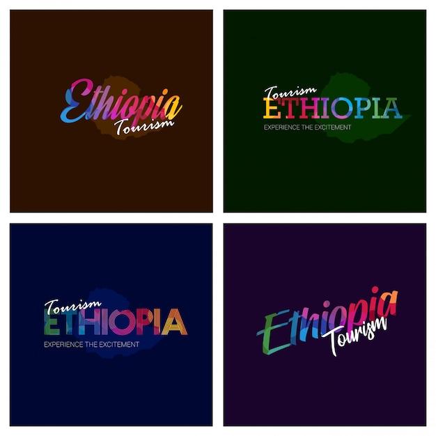 Tourism ethiopia typography logo background set Free Vector